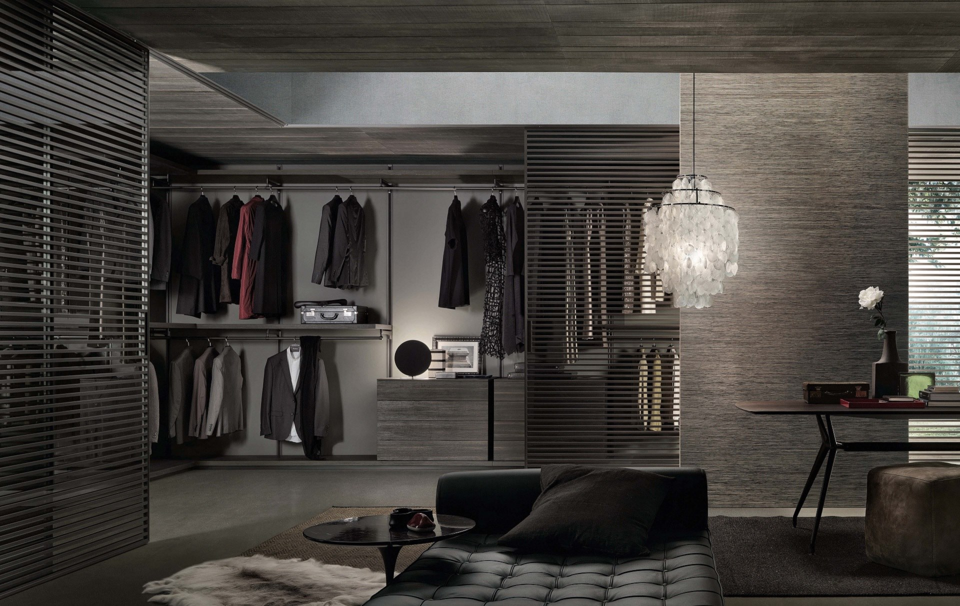 Walk-in wardrobe. Rimadesio Dress Bold available at Dream Design Interiors